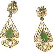 Vintage Drop Earrings Open Work Gold Wash