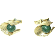 Vintage Sterling/Vermeil Jade Cuff Links Louis of Boston