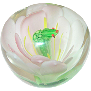 Vintage Paperweight Crystal Flower Frog Inserted