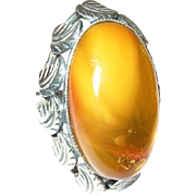 Vintage Sterling Amber Ring Applied Leaves