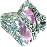Vintage Sterling Ring Marcasite/Faux Pink Stone