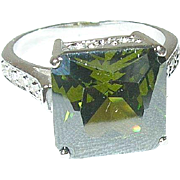 Vintage Sterling Ring Open Work Faux Diamond Green Tourmaline