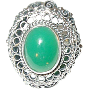 Vintage Sterling Green Onyx Ring Filigree Work