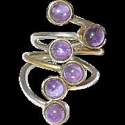 Vintage Ring Sterling/Vermeil Cabochon Amethyst