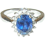 Vintage Ring Sterling Faux Diamond/Sapphire
