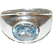 Vintage Sterling Ring Faux Blue Topaz Modernist Design