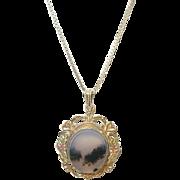 Vintage Necklace/Moss Agate Pendant Sterling/Vermeil