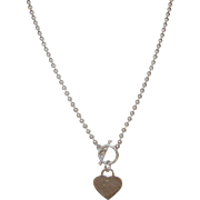 Vintage Sterling Necklace Toggle Heart