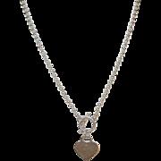 Vintage Sterling Necklace Toggle Heart