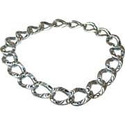 Edwardian Sterling Link Bracelet Chased Design