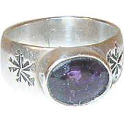 Vintage Sterling Faux Amethyst Ring Cigar Band