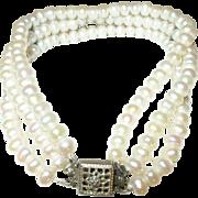 Vintage Triple Strand Fresh Water Cultured Pearl Bracelet