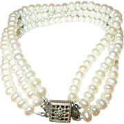 Vintage Triple Strand Fresh Water Cultured Pearl Bracelet