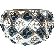 Vintage Sterling Ring Faux Diamonds Dome