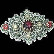 Victorian Sterling Brooch Garnets/Salt Water Seed Pearls