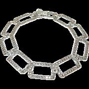 Art Deco Bracelet Sterling Marcasite Link
