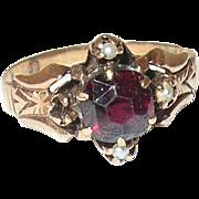 Edwardian 10K Garnet Ring
