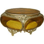 Jewel Casket Beveled Amber Glass 1880's