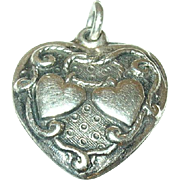 Vintage Sterling Repousse Heart Charm