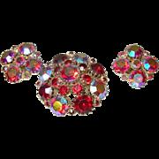 Vintage Weiss Red Aurora Borealis Brooch/Earring Set