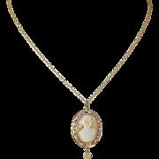 Vintage 14K Cameo Pendant Necklace