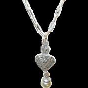 Vintage Sterling Paperclip Necklace Pendant Marcasite