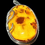 Vintage Sterling Lg Baltic Amber Pendant