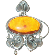 Art Nouveau Sterling Amber Pendant Water Lillies