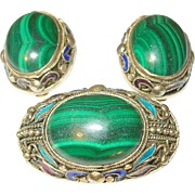 Vintage Silver/Vermeil Enamel Brooch/Earring Set Cabochon Malachite