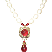 Chanel Necklace Faux Pearl Griproix Pendant 1983 Extremely Rare
