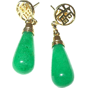 Vintage Drop Earrings Apple Green Jade Gold Filled