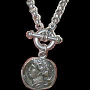Vintage Sterling Toggle Necklace Pendant Greek Coin Design