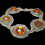 Art Deco LInk Bracelet Gold Filled Lg Faceted Stones