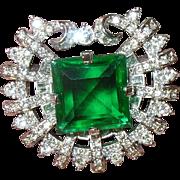 Vintage Brooch Faux Emerald Faux Diamond Exquisite