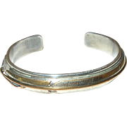 Navajo Lee Bennett Sterling Feather Cuff Bracelet
