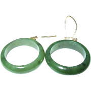 Vintage 10K Jade Hoop Earrings