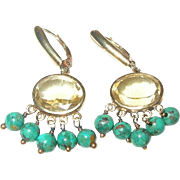 Vintage 14K Earrings Citrine/Turquoise Drops