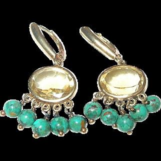 Vintage 14K Earrings Citrine/Turquoise Drops
