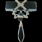Victorian 14K Black Jet Teardrop Brooch 1869