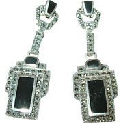Art Deco Sterling Drop Earrings Marcasite/Black Onyx