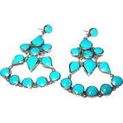 Vintage Earrings Sterling Turquoise Chandelier