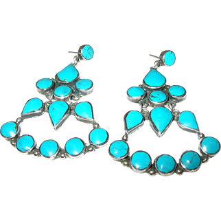 Vintage Earrings Sterling Turquoise Chandelier