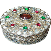 Vintage Sterling Trinket Box Raised Design Colored Glass Stones