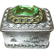 Vintage Silver Plate Trinket Box by Cox Green Faceted Glass Stone