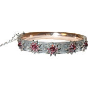 Antique Hinged Bangle Sterling/Rolled Gold Garnet