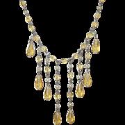 Vintage Sterling Bibb Necklace Yellow Tear Drops
