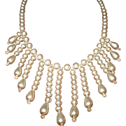 Vintage Faux Pearl Bibb Necklace 1930's Sterling Clasp