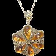 Vintage Czechoslovakian Gold Filled Pendant/Necklace
