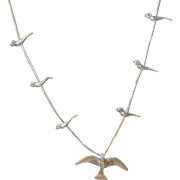 Vintage Sterling Fetish Necklace Birds