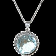 Vintage Sterling Necklace /Pendant Lg Faux Blue Topaz